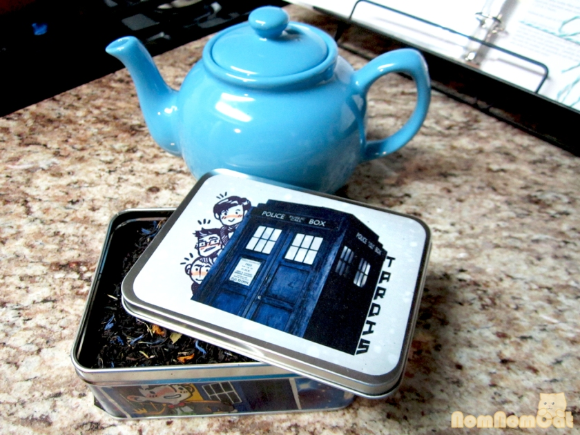 TARDIS blend from Adagio Tea - a blend of earl grey, vanilla, and blackberry
