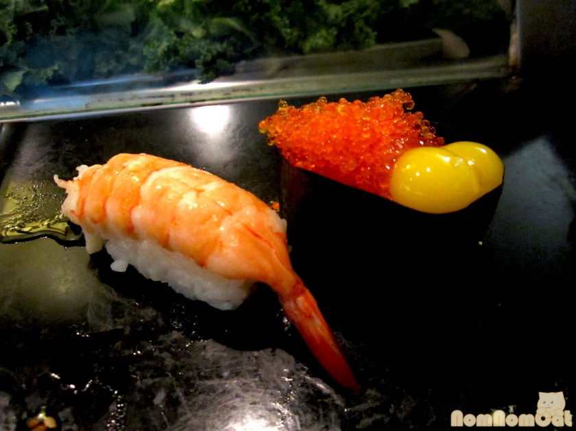 Ebi (Shrimp) and Tobiko & Uzura (Flying Fish Roe with Quail Egg)