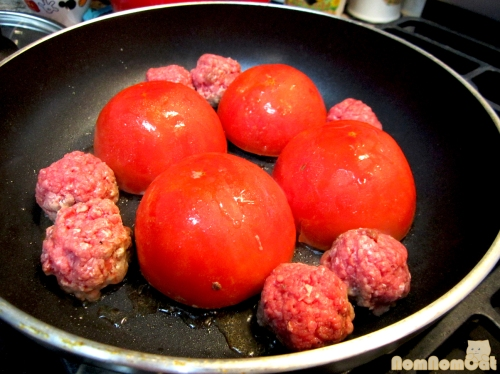 Sear the Stuffed Tomatoes, Meat Side Down