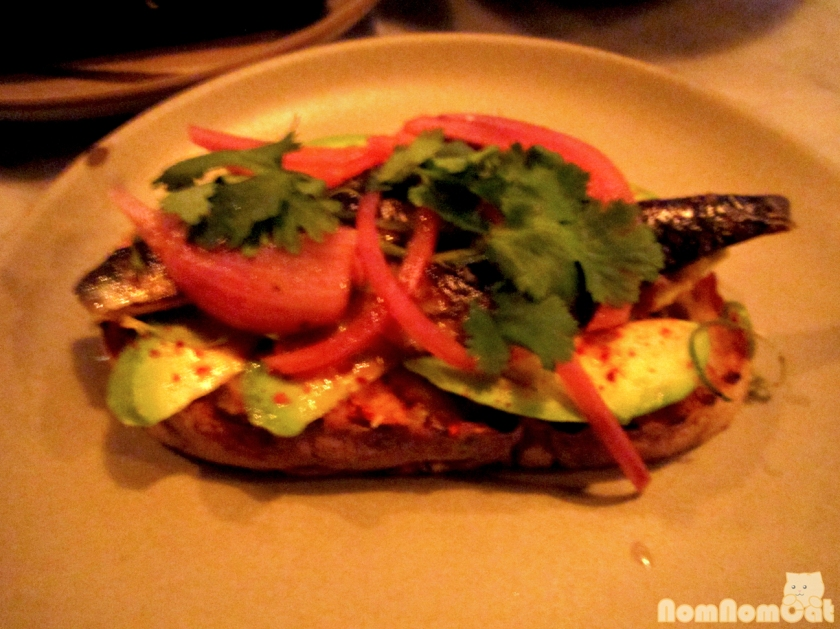 atlantic sardine crostini / avocado / pickled onion / cilantro / lime