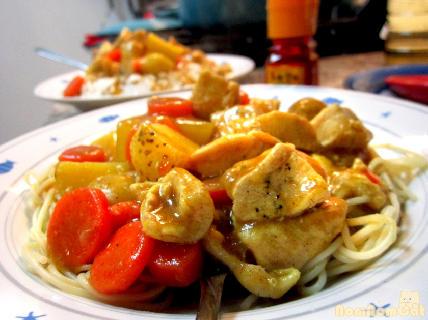 Japanese chicken curry over spaghetti