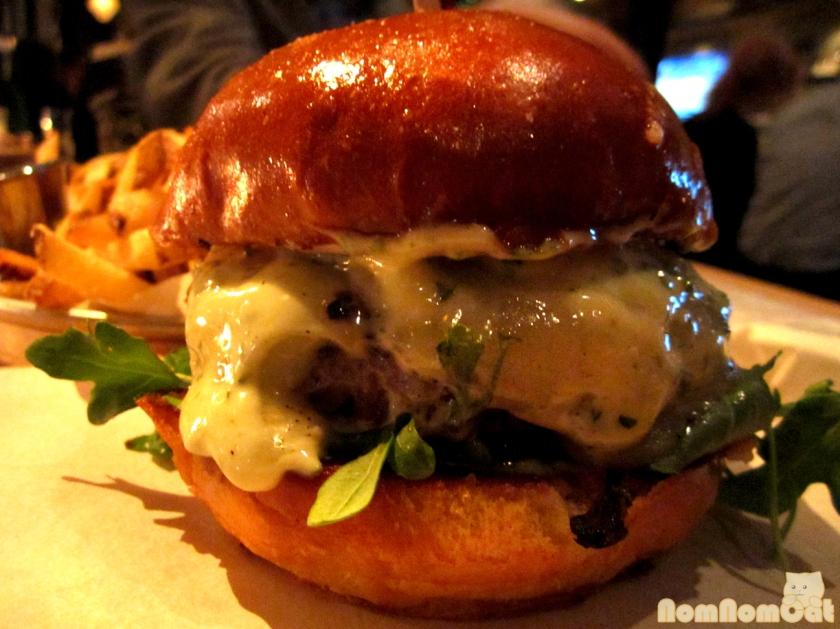Bistro Burger - worcestershire onion compote, port salut cheese, arugula, aioli