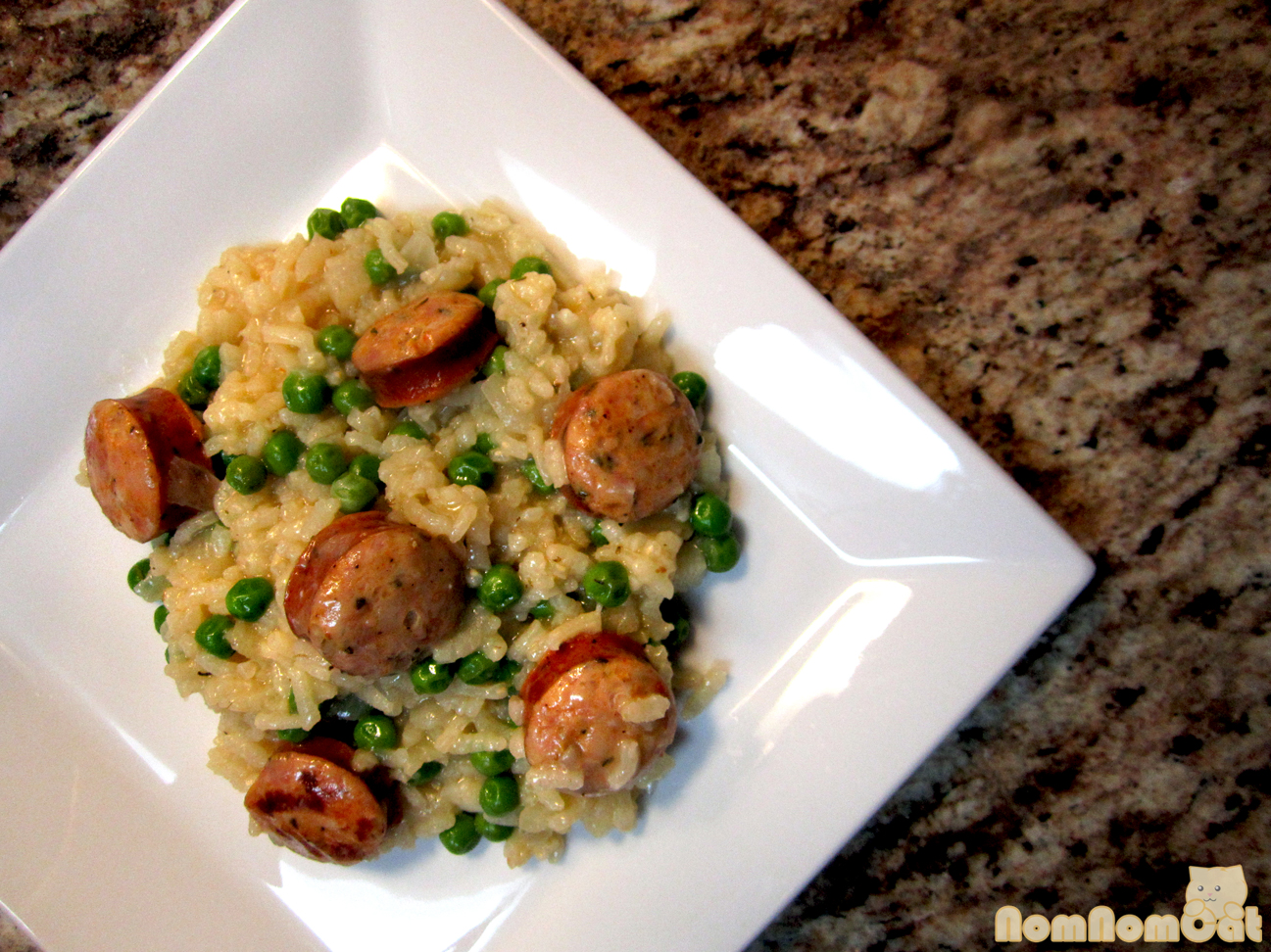 Risotto with Italian chicken sausage and English peas