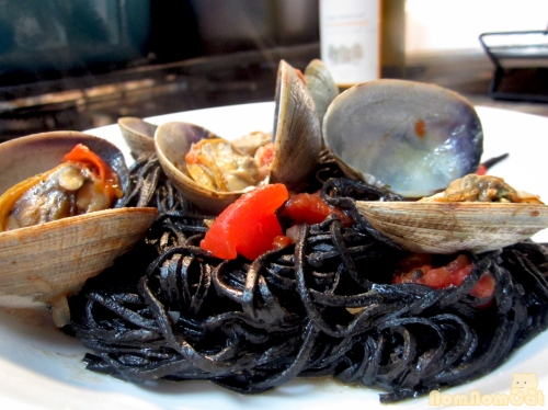 Serving Suggestion: Squid Ink Pasta with Clams