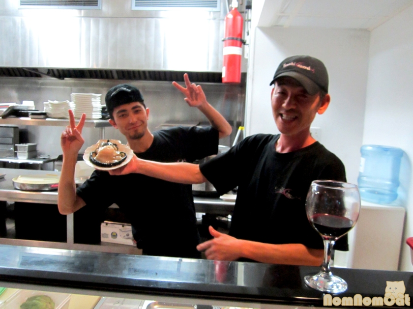 Live Scallop (and the crew - Chef Phillip on the right and Seiji on the left)