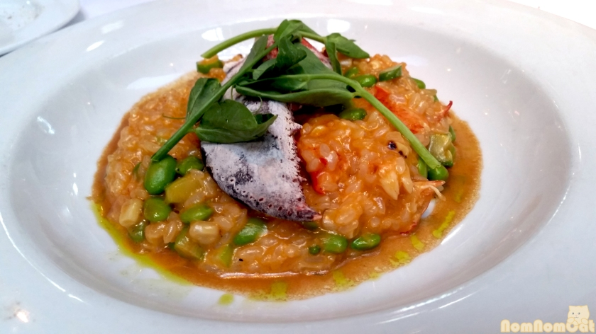 Spicy Lobster Risotto | Edamame, Grilled Corn, Asparagus.
