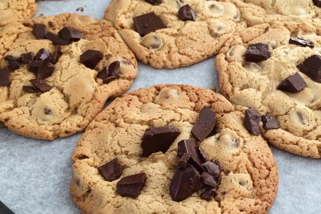 Salted Chocolate Chunk Cookies by our friend CCU at Go Bake Yourself!